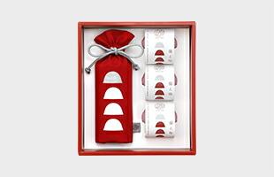 ギフトBOXセット内容:巾着(4粒入)×1、個包装×3、備え梅ガイドブック ×1