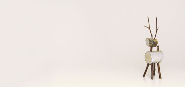 クリスマスオーナメント/白樺トナカイ/置物・オブジェ/中 [オーナメント:トナカイのオブジェ・置き物]