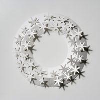 クリスマスリース ホワイト/paper wreath/月桂樹 S【小型宅配便(ゆうパケット)対応】 [クリスマスリース/ホワイトはchiori design ペーパーリース][ゆうパケット 1/7]