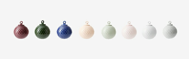 LYNGBY PORCELAIN Rhombe Bauble  左から、|   bordeaux   |   copenhagen green   |   midnight Blue   |   nude   |   soft green   |   soft pink   |   white   |   grey   |