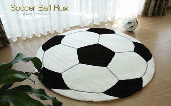 Soccer Ball Rag Rug 90cm Circle