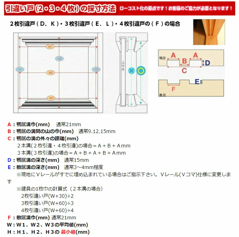 引違い戸の寸法方法