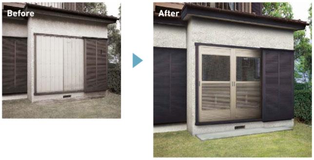 老朽化した雨戸パネルを、短時間で簡単に取替え可能。