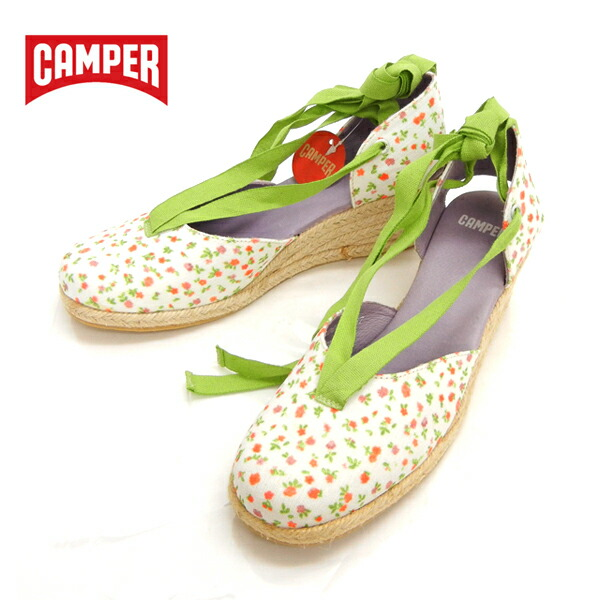 CAMPER カンペール レースアップサンダル 小花柄 ウエッジソール サイズ37(約23.5cm) 箱付 20172-001