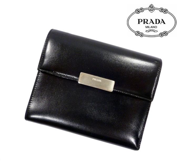 【PRADA】プラダ 三つ折り財布 レザー 男女兼用 ブラック ロゴプレート 人気