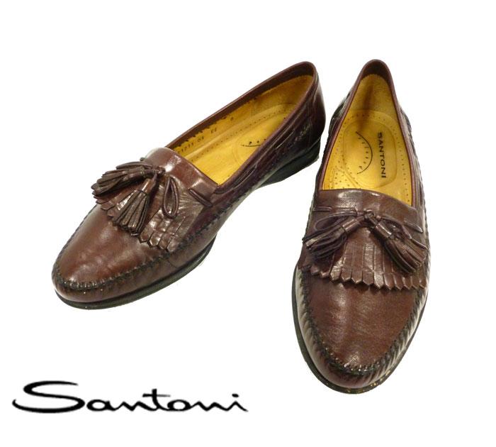 【Santoni】サントーニ フリンジタッセルローファー サイズ8 EE メンズシューズ イタリア製 ブラウン RC0122