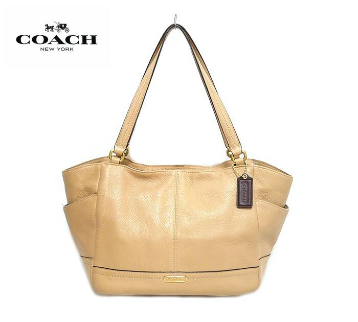 COACH コーチ パーカーレザー キャリーオール トートバッグ ショルダーバッグ F23284 本革 ベージュ×ゴールド金具