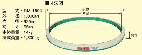 型式:RM-1504 耐荷重:1,500kgまで 寸法(外径):1,000mm 寸法(内径):920mm 寸法(全高):55mm 本体重量:14kg