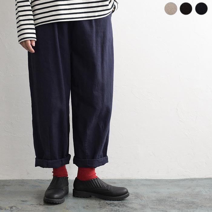 綿麻ウール裾タックワイドパンツ