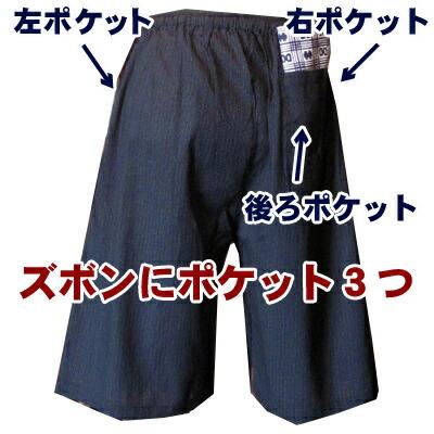 ズボンの左右横とうしろにそれぞれ一つずつポケット