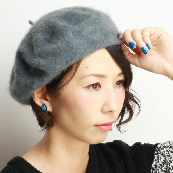 cb63e0561af ELEHELM HAT STORE  Brand LAULHERE Angola beret woman hat product made in warm  hat small size ロレールローレール hair beret Buddha adjustable size six colors ...