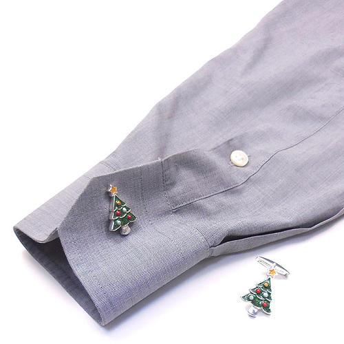 サツルノ:クリスマスツリーのシルバーカフリンクス