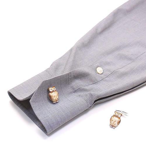 サツルノ:フクロウのシルバーカフリンクス