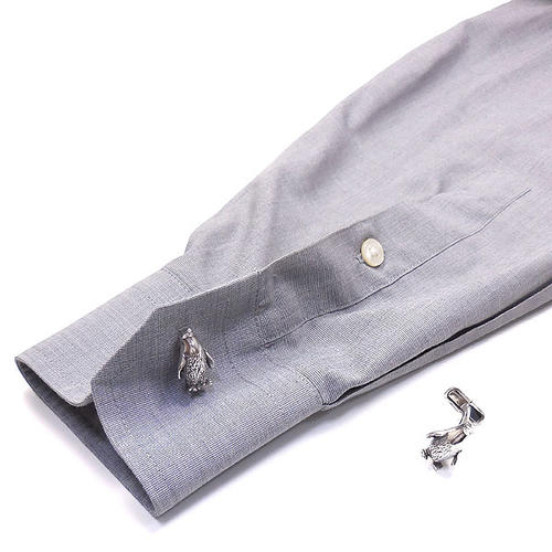 ベルフィオーレ:ペンギンの銀製カフリンクス