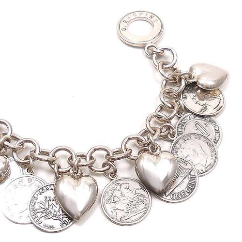 ジョバンニ・ラスピーニ:ハート&コインの燻し銀ブレスレット