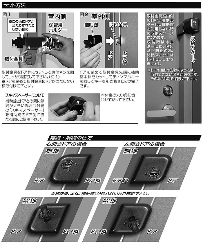 セット方法、施錠・解錠の仕方