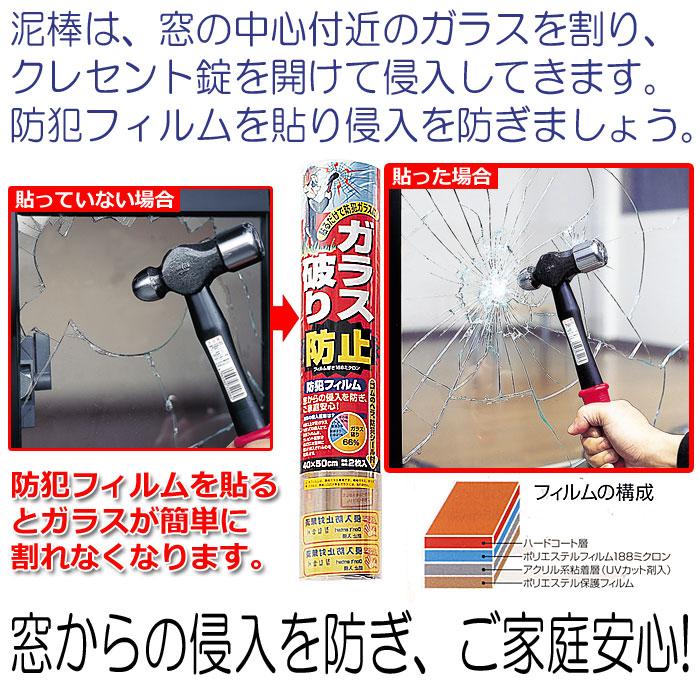 【防犯グッズ】防犯フィルム40×50cm ガラス破りイメージ