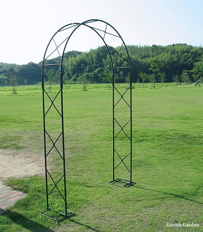 ガーデンアーチ モスグリーン AHM-22 アーチ バラ 設置例