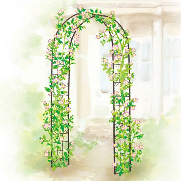 ガーデンアーチ スチール製 パーゴラ アーチ ベランダ バラ 薔薇 ガーデニング 園芸用品 ガーデンファニチャー ローズガーデン ツル植物・薔薇の誘引 おしゃれ 設置例