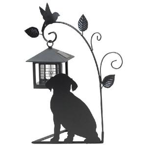 光センサー付ソーラーライト 犬のシルエットS