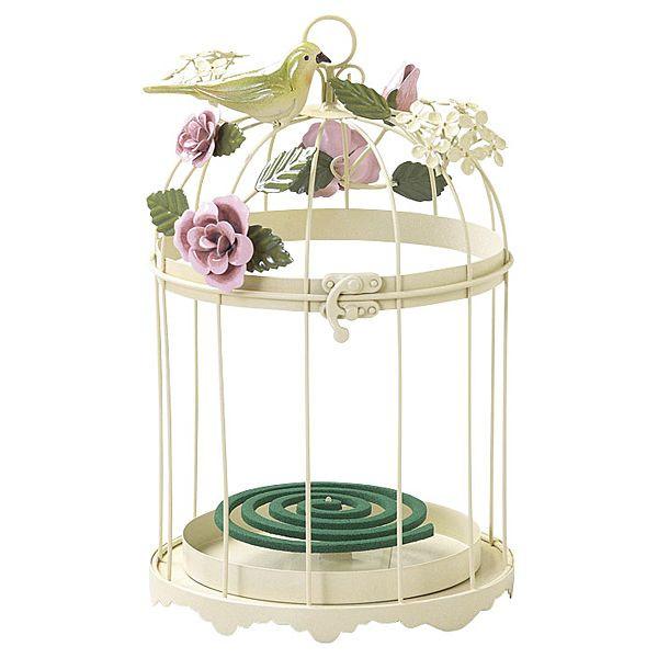 蚊取り線香入れ ガーデニング雑貨(鳥かご)アイボリー
