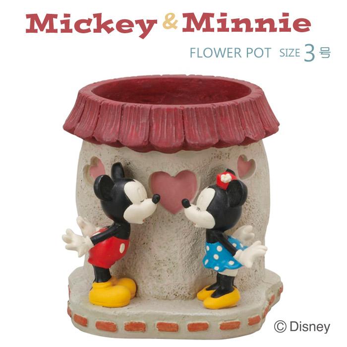 プランター 植木鉢 ディズニー 3号 ミッキーマウスとミニーマウス レジン  水抜き穴あり ガーデニング 園芸用品
