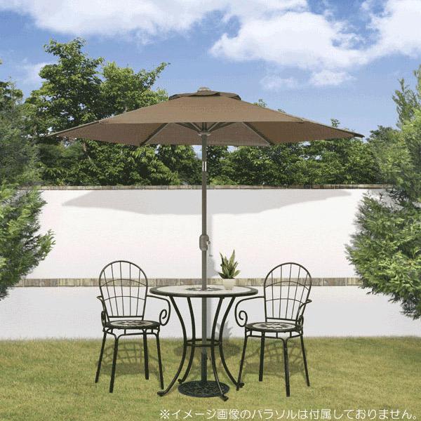 ガーデン テーブル セット スチール製 パラソル穴付 ヨーロピアンモザイクタイルテーブル1台&チェアー2脚 3点セット
