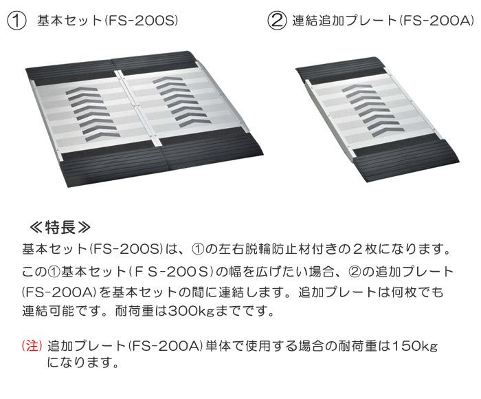 フリースロープ 階段・段差解消  歩行者 台車 車椅子スロープ 連結タイプ 基本セットFS-200S 左右脱輪防止付