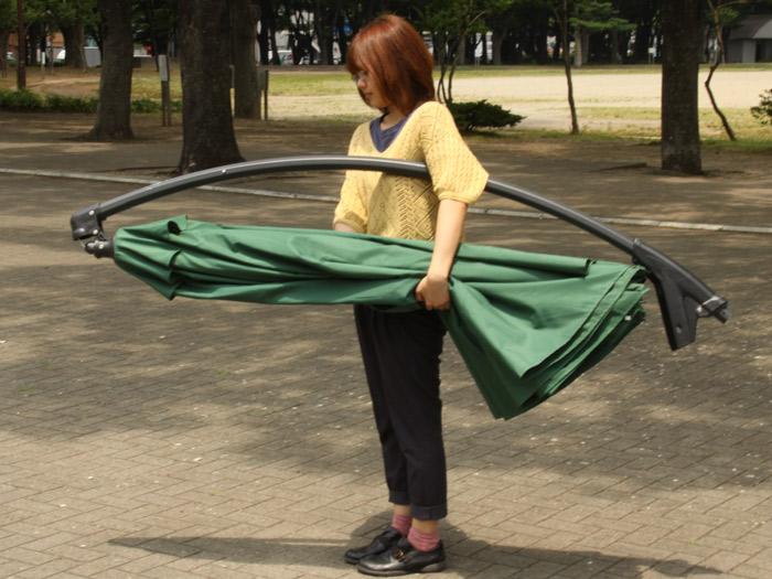ガーデンパラソル 日よけ パラソル ハンキングパラソル ベースセット ナチュラル ホワイト 白 グリーン 緑 傘幅 294cm 自立式 大型 パラソルスタンド パラソルベース付き