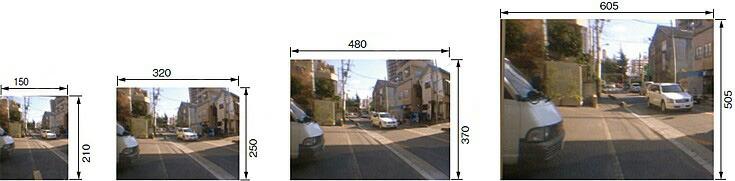 駐車場 車庫 カーブミラー 鏡 道路反射鏡 商品サイズ別 像の大きさの比較