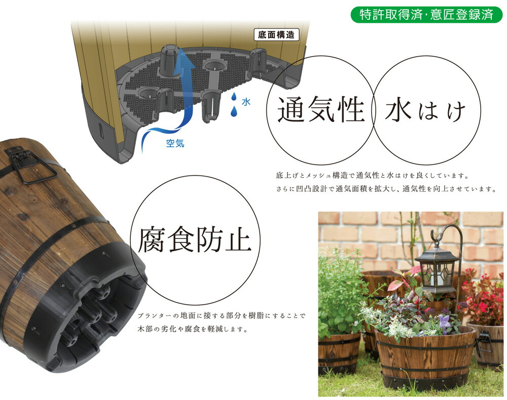 プランター 植木鉢 天然木 ウッドバレルプランター 深型L 直径41×高さ40cm 木製 特許取得