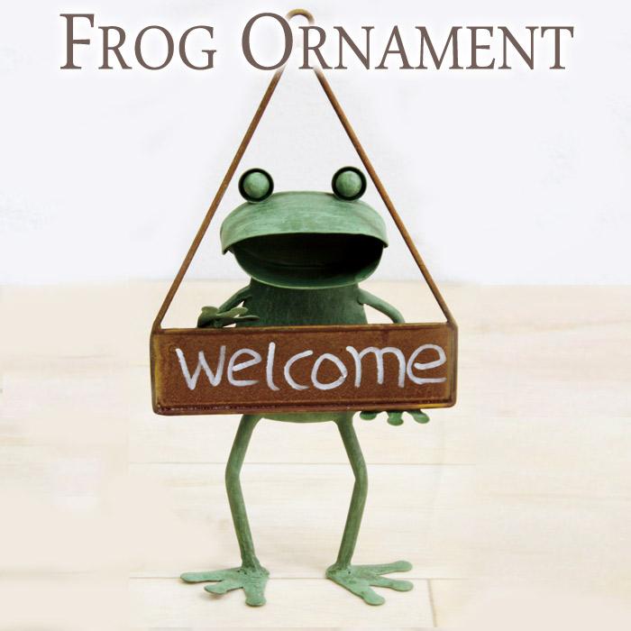 ガーデンオーナメント インテリア雑貨 壁飾り ブリキ製 カエル 蛙 かえる ハンキング WELCOME ウェルカム シングル アイアン ドアプレート インテリア レトロ アンティーク おしゃれ  お祝い 新築祝い 贈り物