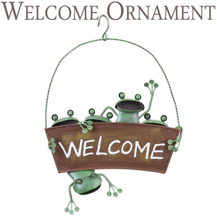 ガーデンオーナメント インテリア雑貨 壁飾り ブリキ製 カエル 蛙 かえる ハンキング WELCOME ウェルカム アイアン ドアプレート インテリア レトロ アンティーク おしゃれ  お祝い 新築祝い 贈り物