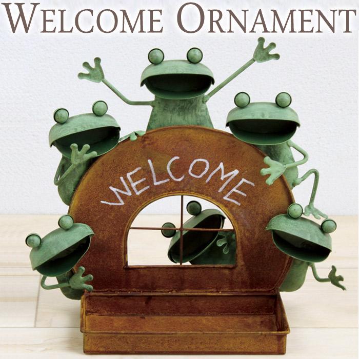 ガーデンオーナメント インテリア雑貨 置物 ブリキ製 WELCOME ウェルカム カエル 蛙 かえる トレイ オーナメント オブジェ インテリア レトロ アンティーク おしゃれ  お祝い 新築祝い 贈り物