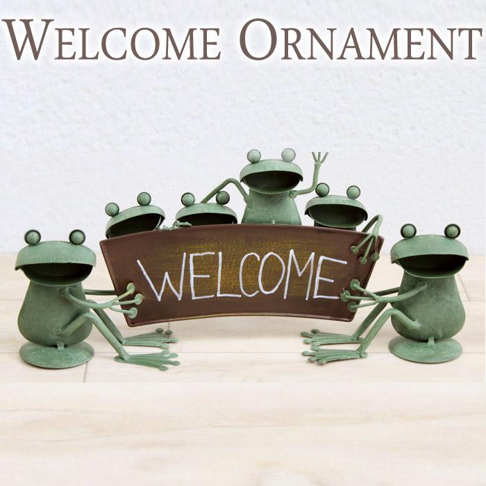 ガーデンオーナメント インテリア雑貨 置物 ブリキ製 WELCOME ウェルカムスタンド カエル 蛙 かえる オーナメント オブジェ インテリア レトロ アンティーク おしゃれ  お祝い 新築祝い 贈り物