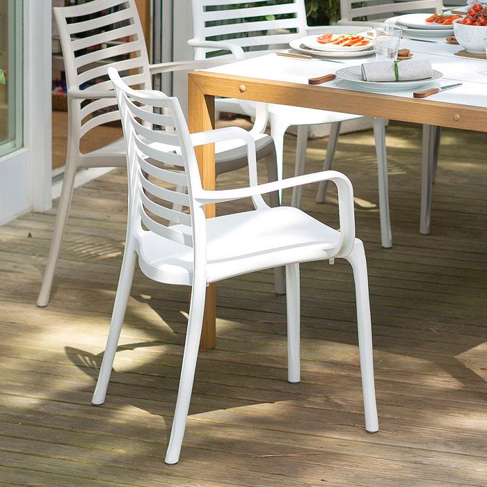 ガーデンチェアー 屋外用 チェアー プラスチック製 Grosfillex サンデーアームチェア ホワイト GRS-AC16W ガーデン家具 椅子 屋外用家具 スタッキング可
