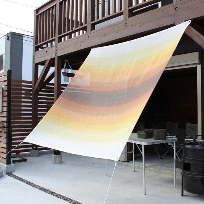 日よけ 日除け シェード オーニング スクリーン すだれ 窓 おしゃれ 高級 上質 ichiori shade ベーシックタイプ グラデーションサンセット 約195×200cm 取付金具・ロープ付き 折り畳み 折りたたみ 暑さ対策 紫外線対策