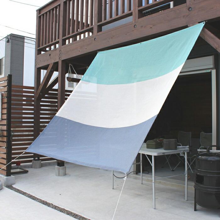 日よけ 日除け シェード オーニング スクリーン すだれ 窓 おしゃれ 高級 上質 ichiori shade 3ボーダー マリンブルー 約195×200cm 取付金具・ロープ付き 折り畳み 折りたたみ 暑さ対策 紫外線対策