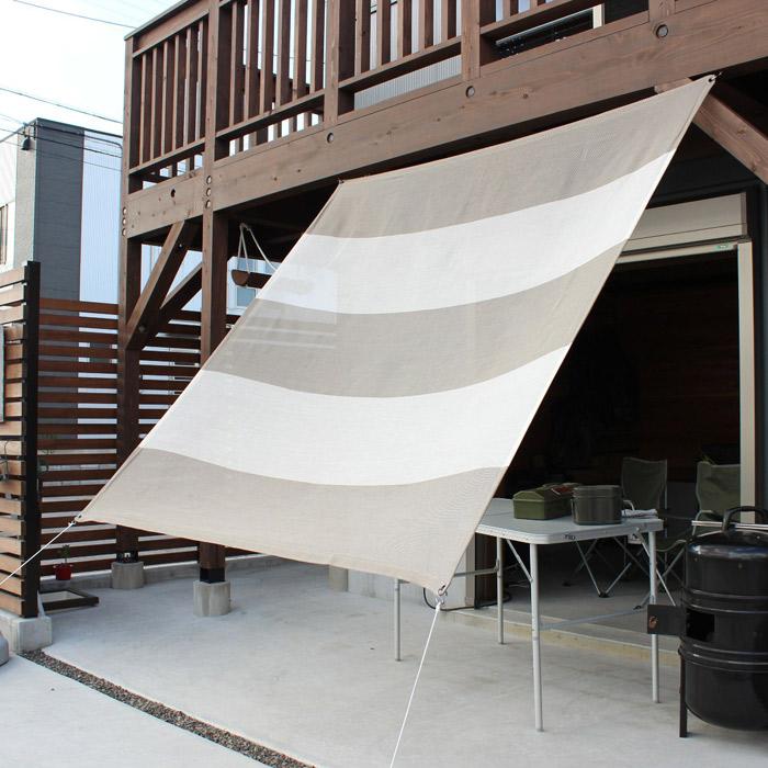 日よけ 日除け シェード オーニング スクリーン すだれ 窓 おしゃれ 高級 上質 ichiori shade 5ボーダー セピア 約195×200cm 取付金具・ロープ付き 折り畳み 折りたたみ 暑さ対策 紫外線対策