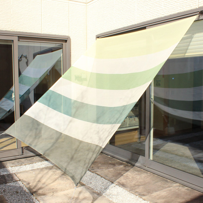 日よけ 日除け シェード オーニング スクリーン すだれ 窓 おしゃれ 高級 上質 ichiori shade 7ボーダー リーフ 約195×200cm 取付金具・ロープ付き 折り畳み 折りたたみ 暑さ対策 紫外線対策
