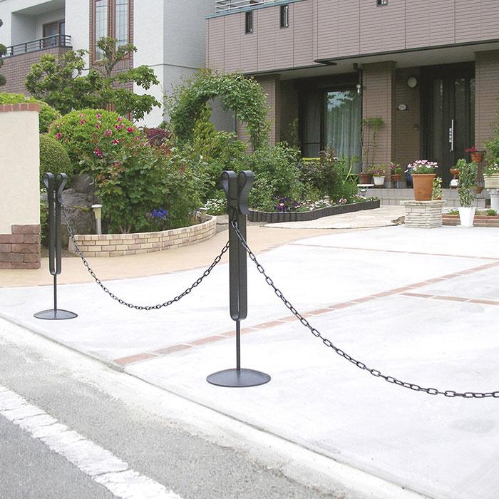 駐車場 ポール 駐車場 フェンス 高級アルミチェーンポール用 アルミチェーン(1m)ブラック/シルバー