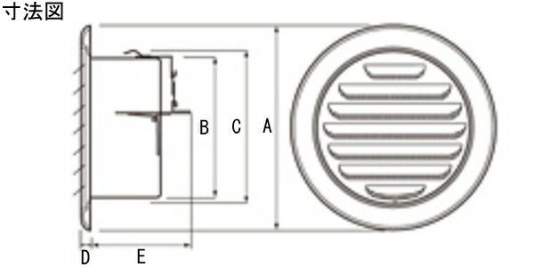 ステンレス製 丸型ガラリ SGN150SHD-DK 24台/1ケース単位 電解研磨 150φ用 ダンパー付 新築 リフォーム DIY 住宅 換気 外壁換気口 自然吸排気口用品