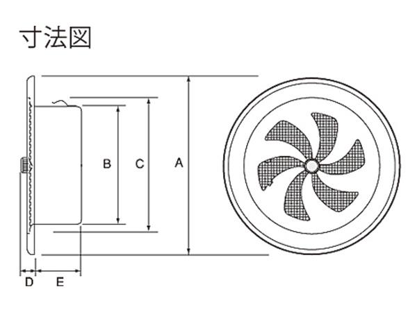 ステンレス製 丸型レジスター RN100S-HL 1台単位 ヘアーライン 100φ用 新築 リフォーム DIY 住宅 換気 外壁換気口 自然吸排気口用品