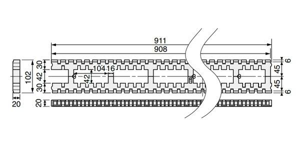 キソパッキンロング 基礎パッキンロング 在来工法・2×4工法兼用 床下全周換気 シロアリ対策 KP-L102 20個入り単位 105角・120角・404(204)・406(206)用 新築 リフォーム工事に
