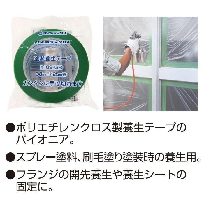 養生用粘着テープ パイオランクロス パイオランテープ グリーン 38×25m 36個入り単位 住宅・ビルの塗装・工事などの養生作業に