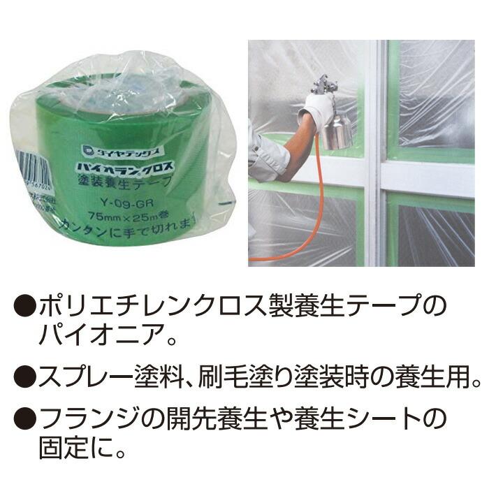 養生用粘着テープ パイオランクロス パイオランテープ グリーン 75×25m 18個入り単位 住宅・ビルの塗装・工事などの養生作業に