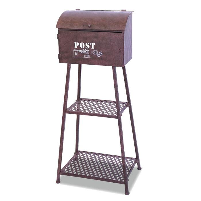 ポスト 郵便受け ポストボックススタンド ブラウン 組立式