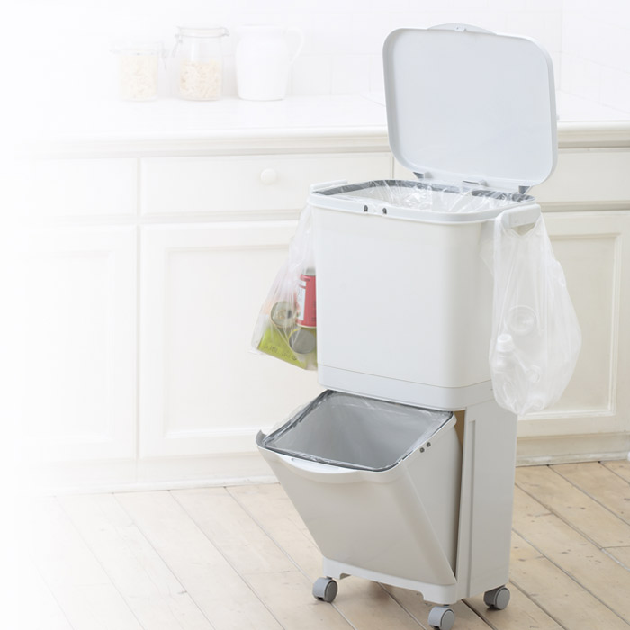 ごみ箱 くず入れ ダストボックス ふた付き 分別 分類 2段 スリム 縦型 キャスター フック付き キッチン 台所
