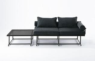 MA-ソファ ダブル サイドテーブル付き W1450×D850×H720×SH410mm(ソファ) W710×D810×H300mm(サイドテーブル) 組立品 ソファー 2人掛け