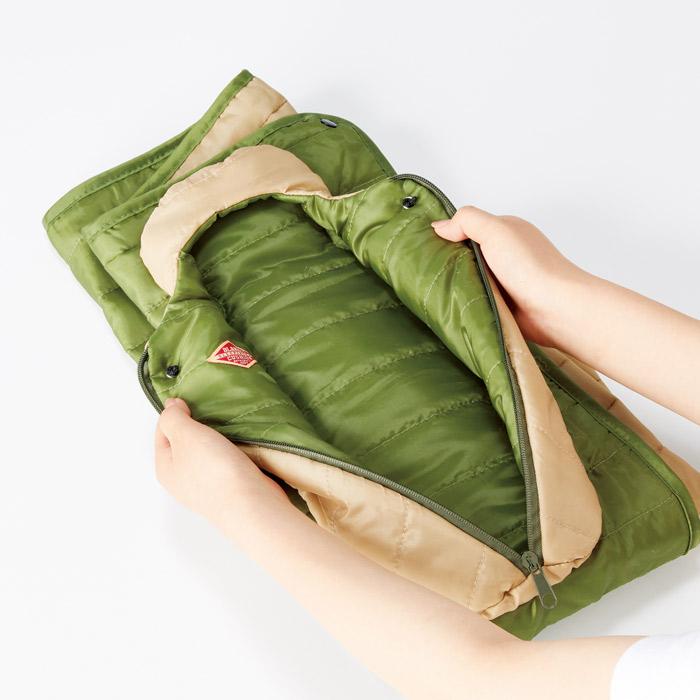 ブランケット クッション 枕 寝袋型 中綿 巻きスカート ダウン調 アウトドア キャンプ レジャー スポーツ観戦 お昼寝 スリーピングバッグ